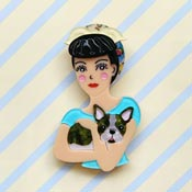 Fab Fifi And Frenchie Black Haired Brooch By She Loves Blooms
