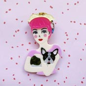 Fab Fifi And Frenchie Pink Haired Brooch By She Loves Blooms