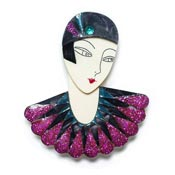Flapper Marion Brooch In Purple Blue And Black By Laliblue