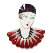 Flapper Marion Brooch  In Red Black And White By Laliblue