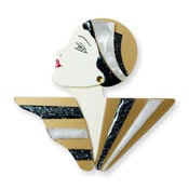 Flapper Olive Brooch In White And Gold By Laliblue