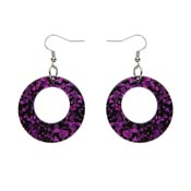 Fuchsia Chunky Glitter Circle Drop Earrings By Erstwilder