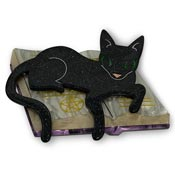Furmiliar Pyewacket Black Cat Spellbook Brooch By Lipstick & Chrome