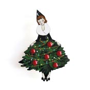 Girl With A Christmas Tree Skirt Brooch By Laliblue