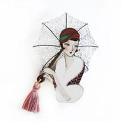 Girl With An Umbrella Brooch By Laliblue