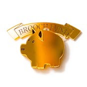 Brooch Fund Piggy Bank Brooch In Gold By Martinis & Slippers - Second Owner Never Worn