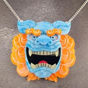 Orange And Blue Komainu Lion Or Foo Dog Necklace By Gory Dorky - Imperfect