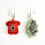 Red Telephone Earrings By Laliblue