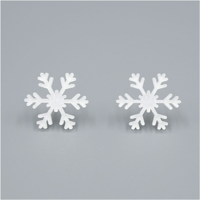 White Glitter Snowflake Earrings
