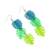 Frosted Cascading Monstera Leaf Earrings By IJSY