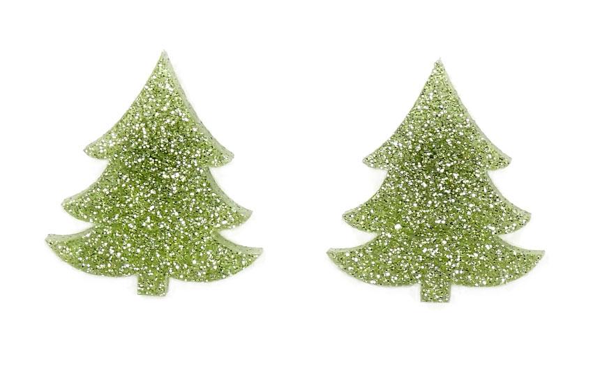 light green glitter christmas tree earrings