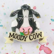 Moody Cow Brooch Black By Gory Dorky