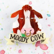 Moody Cow Brooch Brown By Gory Dorky