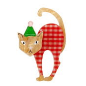 Noel The Festive Feline Brooch By Erstwilder