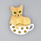 Cattachino Brooch By Kimchi And Coconut Orange Cat