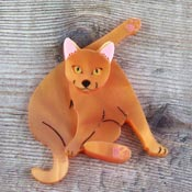 Orange Yoga Cat Brooch By Kimchi And Coconut