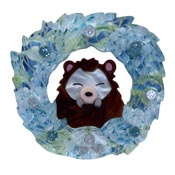 Ralf Christmas Wreath Hedgehog Brooch By Wintersheart