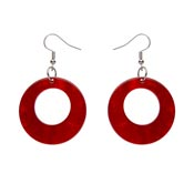 Red Ripple Circle Drop Earrings By Erstwilder