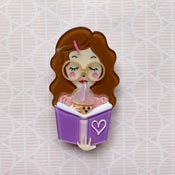 Simple Joy Brooch With Brown Hair By She Loves Blooms