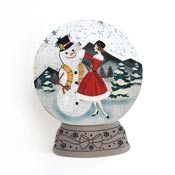 Girl With Snowman Snow Globe Brooch By Laliblue