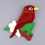 Strawberry Finch Brooch By Tantalising Treasures