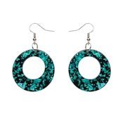 Teal Chunky Glitter Circle Drop Earrings By Erstwilder
