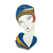 Flapper Thelma Brooch In Blue And Gold By Laliblue