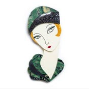 Flapper Thelma Brooch In Green And Gold By Laliblue