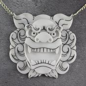 White Komainu Lion Or Foo Dog Necklace By Gory Dorky