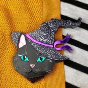 Black Witchy Cat Brooch By Wildworth Design Co.
