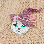 White Witchy Cat Brooch By Wildworth Design Co.