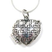 Sterling Silver Autism Heart Locket Necklace