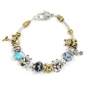 Two Tone Kitty Cat Slider Bead Bracelet
