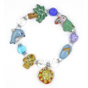 Hand Painted Ceramic Tropical Beach Beaded Bracelet