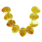Topaz And Yellow Leaf Beads Czech Glass