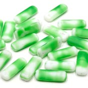 Vintage Green White Puffed Rectangle Beads German NOS 20 Pieces