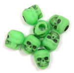 Lime Green Acrylic Skull Bead