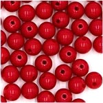 Vintage Red Acrylic Round 6mm Beads Japan NOS