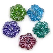 Luster Glass Flower Beads Five Color Set