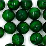 Vintage 12mm Green Marbled Acrylic Round Beads German NOS