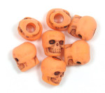 Orange Acrylic Skull Bead