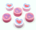 Pink Polymer Clay Heart Beads Two Styles