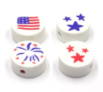 Four Patriotic Polymer Clay Beads