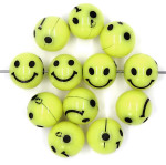 Round Yellow Happy Face Beads