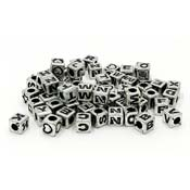 Plastic Silver Cube Letter Beads