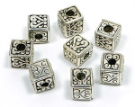 Square Silver Heart Beads Large Hole
