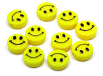 Flat Plastic Smiley Face Beads 10 Pieces