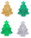 Large Christmas Tree Pony Beads - Glitter And Transparent
