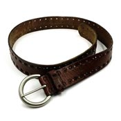 Brown Leather Belt With Small Studs And Fancy Cutouts By Fossil
