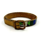 Guatemalan Belt Brown Leather With Woven Textile